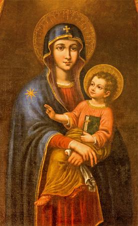 Sevilla, Spanje - 29 oktober 2014: De verf van Madonna in de kerk Iglesia de Santa Maria Magdalena door onbekende schilder. Redactioneel