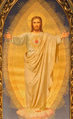 VIENNA, AUSTRIA - 17 dicembre 2014: Il Cuore di Gesù di vernice su l'altare maggiore della chiesa del Sacro Cuore di Anna Maria von Oer (1846-1929). Archivio Fotografico - 35493627