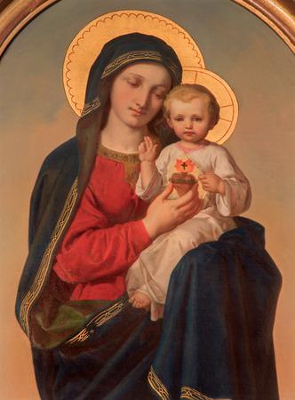 アンナ ・ マリア ・ フォン ・小田急電鉄 (1846年-1929 年) によってサクレクール教会の側の祭壇にウィーン、オーストリア - 2014 年 12 月 17 日: 聖母塗 報道画像