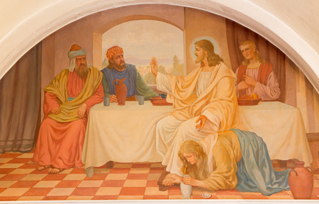 pardon: VIENNA, AUSTRIA - DECEMBER 17, 2014:  The Mary Magdalen wash the feet of Jesus scene by Josef Kastner the older from 20. cent. in Erloserkirche church.