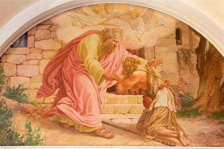 VIENA, Austria - 17 de diciembre 2014: El regreso del hijo pródigo escena por Josef Kastner el más viejo de 20. ciento. en la iglesia Erloserkirche.