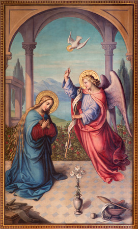 annunciation of mary: VIENNA, AUSTRIA - DECEMBER 17, 2014: The Annunciation paint from 20. cent in the chruch Muttergotteskirche by Josef Kastner the younger.