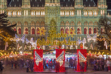 townhall: Vienna - tower of town-hall and christmas decoration Editorial