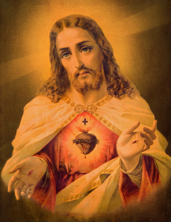 lord jesus: SEBECHLEBY, SLOVAKIA - JANUARY 2, 2015: Typical catholic image of heart of Jesus Christ from Slovakia (in my own home) printed in Germany from the end of 19. cent. originally by unknown artist. Editorial