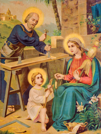 SEBECHLEBY, SLOVAKIA - JANUARY 2, 2015: Typical catholic image printed image of Holy Family from the end of 19. cent.  printed in Germany originally by unknown painter.