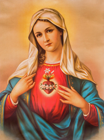 SEBECHLEBY, SLOVAKIA - JANUARY 6, 2015: The Heart of Virgin Mary. Typical catholic image printed in Germany from the end of 19. cent. originally by unknown painter. 에디토리얼
