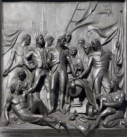 nelson: London - The Battle of Copenhagen relief from Nelson memorial by sculptor J. Ternout - Trafalgar square. Stock Photo