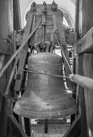 balk: BRATISLAVA, SLOVAKIA - OCTOBER 11, 2014: The Wederin bell in st. Martins cathedral made in year 1670 by founder of bells Balthasar Herold from Vienna.
