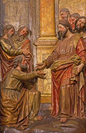 polychrome: SEVILLE, SPAIN - OCTOBER 28, 2014: The carved polychrome relief of the scene Saint Peter for the Christ on the main altar in church Iglesia de San Pedro by Felipe de Ribas (1641 - 1657).