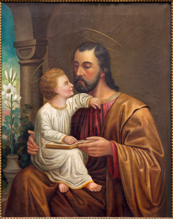 VIENNA, AUSTRIA - DECEMBER 17, 2014: The St. Joseph paint on the side altar of Salesianerkirche by unknown artist of 19. cent. Éditoriale