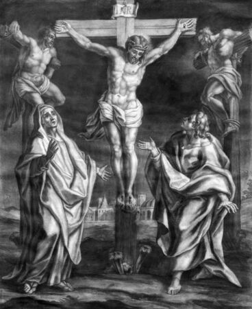 lithography: VIENNA, AUSTRIA - DECEMBER 17, 2014:  The Crucifixion old lithography from 18. cent. by Johannes Lorenz Haid in Salesianerkirche church as the part of Cross way cycle. Editorial