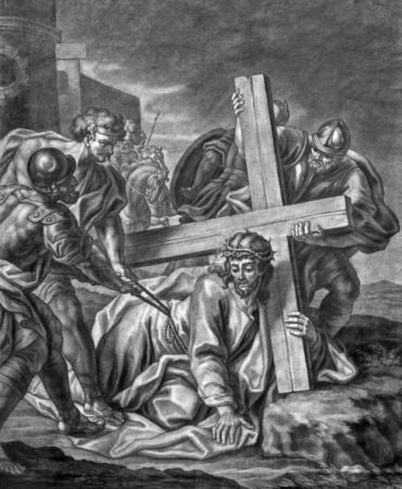 lithography: VIENNA, AUSTRIA - DECEMBER 17, 2014: The Jesus fall under cross old lithography from 18. cent. by Johannes Lorenz Haid in Salesianerkirche church as the part of Cross way cycle.