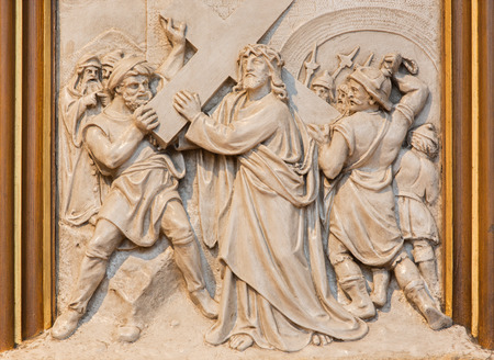 affiliation: VIENNA, AUSTRIA - DECEMBER 17, 2014: Jesus carries his cross. Relief as one part of Cross way cycle in Sacre Coeur church by R. Haas from end of 19. cent. Editorial