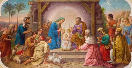 nativity: VIENNA, AUSTRIA - DECEMBER 17, 2014: Fresco of Nativity scene by Josef Kastner the older from 20. cent. in Erloserkirche church. Editorial