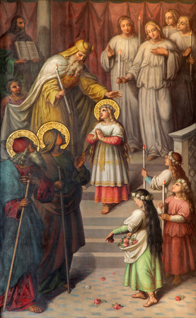 17 20: VIENNA, AUSTRIA - DECEMBER 17, 2014: The Presentation of Virgin Mary in the Temple. Paint from 20. cent in the church Muttergotteskirche by Josef Kastner the younger.