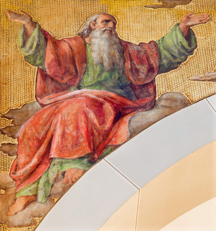 isaiah: VIENNA, AUSTRIA - DECEMBER 17, 2014: The fresco of prophet Isaiah by Josef Kastner the younger from 20. cent in the church Muttergotteskirche.