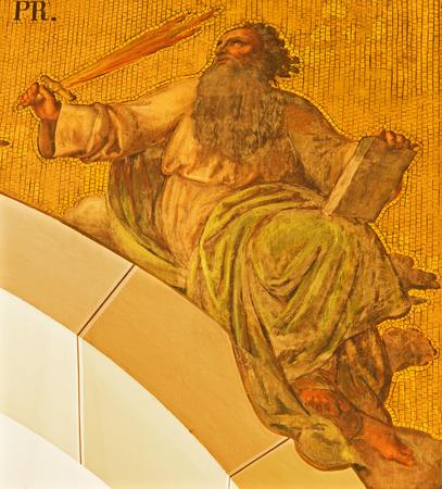 17 20: VIENNA, AUSTRIA - DECEMBER 17, 2014: The fresco of prophet Elijah by Josef Kastner the younger from 20. cent in the church Muttergotteskirche.