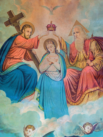 coronation: SEBECHLEBY, SLOVAKIA - DECEMBER 29, 2014: Typical catholic image of Coronation of Virgin Mary (in my own home) printed in Germany from the end of 19. cent. originally by unknown painter. Editorial