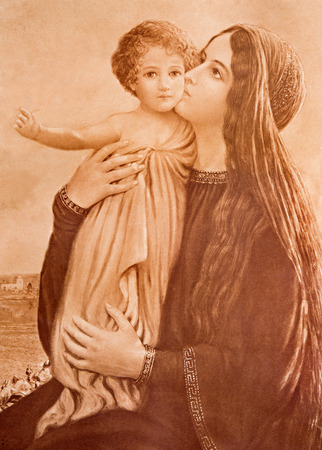 SEBECHLEBY, SLOVAKIA - JANUARY 3, 2015: Typical catholic image of Madonna with the child (in my own home) printed in Germany from the end of 19. cent. originally by unknown painter. Editoriali