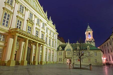 metropolitan: Bratislava - metropolitan palace and tow-hall at dusk Editorial