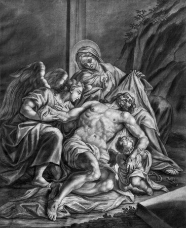 lithography: VIENNA, AUSTRIA - DECEMBER 17, 2014: The Deposition form the cross (Pieta) old lithography from 18. cent. by Johannes Lorenz Haid in Salesianerkirche church as the part of Cross way cycle.