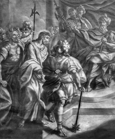 johannes: VIENNA, AUSTRIA - DECEMBER 17, 2014: The Jesus for Pilate old lithography from 18. cent. by Johannes Lorenz Haid in Salesianerkirche church as the part of Cross way cycle.