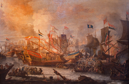 ANTWERP, BELGIUM - SEPTEMBER 5, 2013: The paint of Battle of Lepanto from 7. 10. 1571 by unknown painter in Saint Pauls church (Paulskerk).