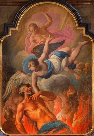 eucharist: VIENNA, AUSTRIA - FEBRUARY 17, 2014: The paint of liberation of the soul form purgatory in baroque st. Annes church. Scene form life of the saint at Eucharist giving.