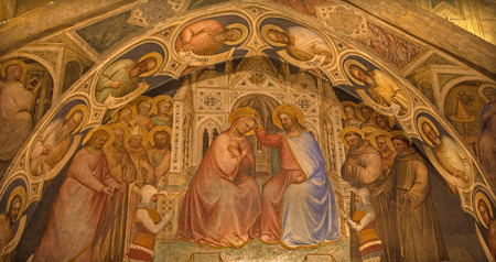 blessings: PADUA, ITALY - SEPTEMBER 8, 2014: The fresco of the Coronation of Virgin Mary in Basilica del Santo or Basilica of Saint Anthony of Padova by Giusto de Menabuoi (1375-1376) in the chapel of Blessings. Editorial
