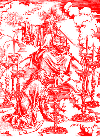 durer: BRATISLAVA SLOVAKIA  FEBRUARY 4 2015: Apocalyptic Christ at the vision of st. John after Albert Durer 16. cent. in the Book  Durer als Fuhrer published by Josef Muller Munchen Garmany 1928.