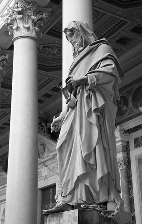 atrium: ROME MARCH  21: Detail of st. John the Evangelist statue in the atrium of st. Paul s basilica. March 21 2012 in Rome Italy Editorial