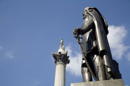 admiral: London  statue of general and Admiral Nelson memorial from Trafalgar square in background Editorial