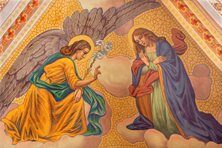 BANSKA STIAVNICA, SLOVAKIA - FEBRUARY 5, 2015: The Annunciation fresco on the ceiling of parish church from year 1910 by P. J. Kern.