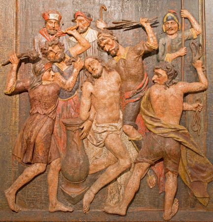 flagellation: BANSKA STIAVNICA, SLOVAKIA - FEBRUARY 5, 2015: The carved relief of Flagellation as the part of baroque Calvary from years 1744 - 1751. Editorial