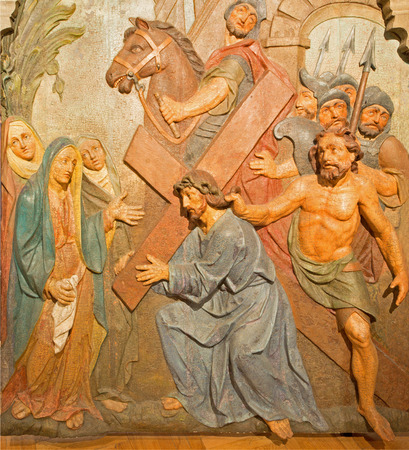 calvary: BANSKA STIAVNICA, SLOVAKIA - FEBRUARY 5, 2015: The detail of carved relief Jesus meets his mother as the part of baroque Calvary from years 1744 - 1751.