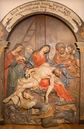 mary mother of jesus: BANSKA STIAVNICA, SLOVAKIA - FEBRUARY 5, 2015: The detail of carved statue of Pieta as the part of baroque Calvary from years 1744 - 1751. Editorial