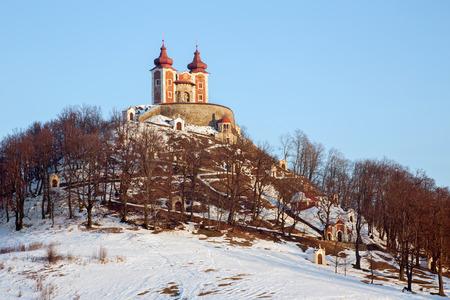 calvary: Banska Stiavnica - The baroque calvary built in years 1744 - 1751 in winter evening Editorial