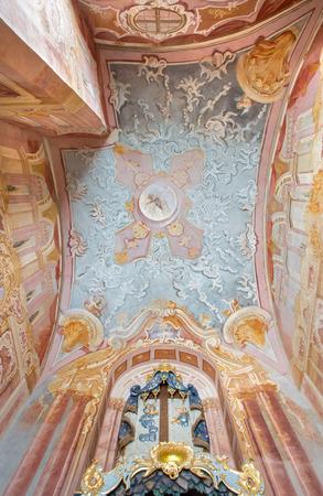calvary: BANSKA STIAVNICA, SLOVAKIA - FEBRUARY 20, 2015: The fresco in the lower church of baroque calvary by Anton Schmidt from years 1745 in the Chapel of Sorrowfull heart of Virgin Mary.