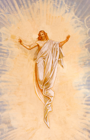 anton: BANSKA STIAVNICA, SLOVAKIA - FEBRUARY 20, 2015: The Resurrected Christ fresco in the middle church of baroque calvary by Anton Schmidt from years 1745.