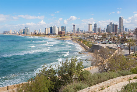 jafo: TEL AVIV, ISRAEL - MARCH 2, 2015: The outlook to waterfront and town from old Jaffa