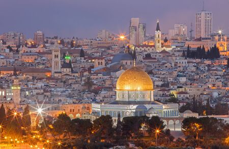 Jerusalem - Outlook from Mount of Olives to old city at dusk photo