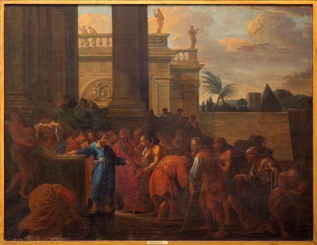 BRUGES, BELGIUM - JUNE 12, 2014: St. Mark the evangelist giv the alms (1694) in st. Jacobs church (Jakobskerk)