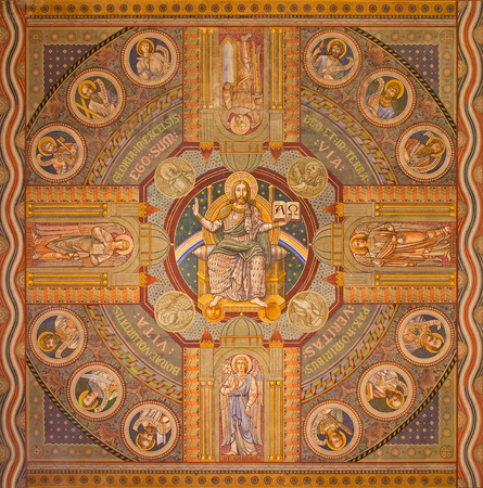 evangelical: JERUSALEM, ISRAEL - MARCH 3, 2015: Jesus the Pantokrator and the apostle. Paint on the ceiling of Evangelical Lutheran Church of Ascension designed by H. Schaper and F. Pfannschmidt (1988-1991).