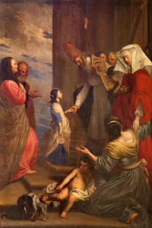 jacob: BRUGES, BELGIUM - JUNE 12, 2014: The Presentation of Virgin Mary in the Temple by Jan van Oost (1655) from st. Jacobs church (Jakobskerk).