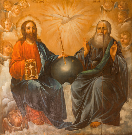 JERUSALEM, ISRAEL - MARCH 3, 2015: The Holy Trinity painting from Church of the Holy Sepulchre by unknown artist of 19. cent. Imagens - 38897006