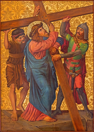 dolorosa: JERUSALEM, ISRAEL - MARCH 4, 2015: The Christ carries his cross paint from end of 19. cent. by unknown artist as part of cross way cylce in Armenian Church Of Our Lady Of The Spasm.