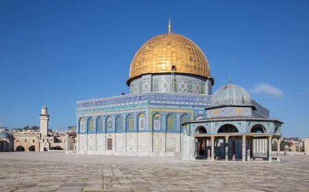 JERUSALEM, ISRAEL - MARCH 5, 2015: The Dom of Rock on the Temple Mount in the Old City. Dome was constructed by the order of Umayyad Caliph Abd al-Malik (689 and 691) and tiled by sultan Suleiman.