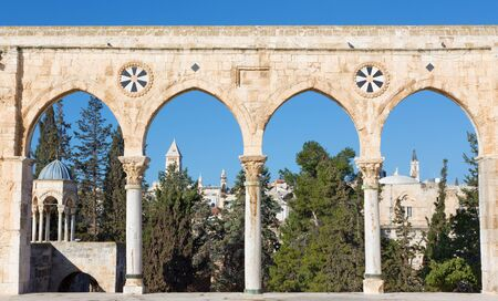 west gate: JERUSALEM, ISRAEL - MARCH 5, 2015: The look cross the west gate from the Temple Mount to in morning light with the towers of Redeemer church and Latin patriarchate. Editorial