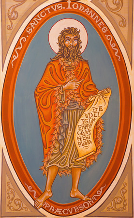 JERUSALEM, ISRAEL - MARCH 5, 2015: The painting of St. John the Baptist in presbytery of st. Stephen church from 20. cent.