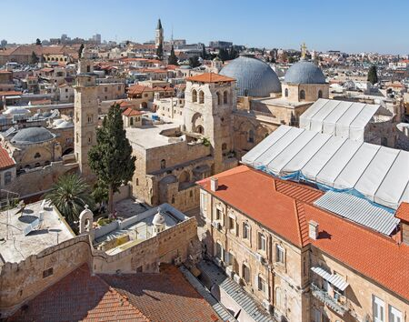 Jerusalem - Outlook over the old town with the Church of Holy Sepulchre. photo
